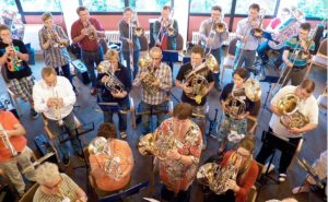 Blechbläser Workshop-Ensemble bei der Probe