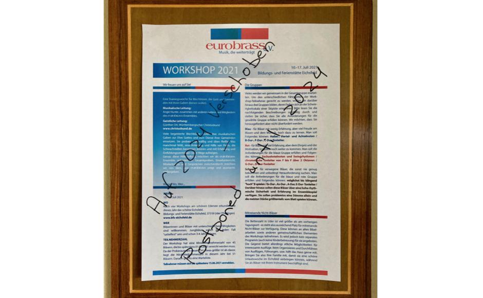 Workshop Absage Flyer